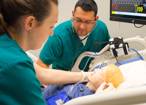 Respiratory students care for Sim Junior